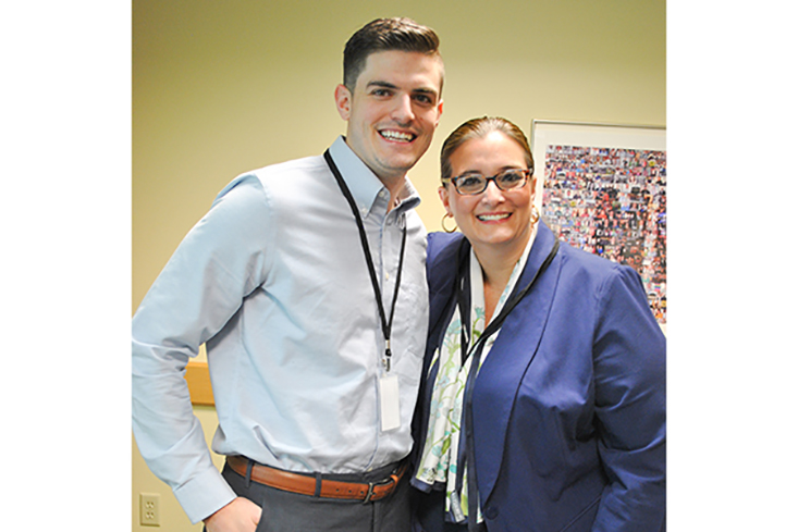 CEO Scholarship recipient Michael Polley, Class of 2012, with  Granite State College's Associate Vice President of Enrollment Management Tara Payne (the creator of the CEO Scholarship program).